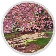 Sunny Patch Under The Cherry Trees Round Beach Towel