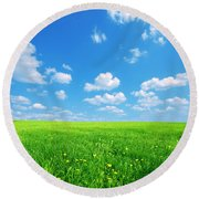 Sunny Spring Landscape Round Beach Towel