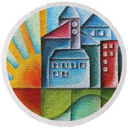 Sunny Town Round Beach Towel