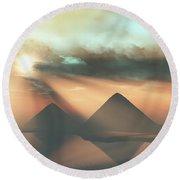 Sunrays Shine Down On Three Pyramids Round Beach Towel