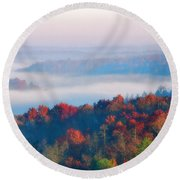 Sunrise And Fog In The Cumberland River Valley Round Beach Towel