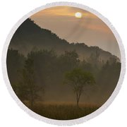 Sunrise And The Early Morning Fog Iron Round Beach Towel