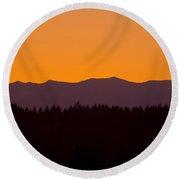 Sunrise As Seen From Mt. Scott Round Beach Towel
