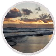 Sunrise At Bamburgh Beach Round Beach Towel