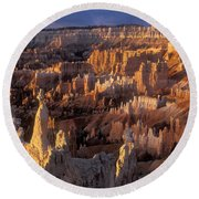 Sunrise At Brice Canyon Amphitheatre Round Beach Towel