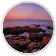 Sunrise At Otter Point Round Beach Towel