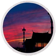 Sunrise At Sisowath Quay. Round Beach Towel