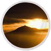 sunrise behind Mount Teide Round Beach Towel