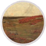 Sunrise In Autumn Round Beach Towel