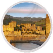 Sunrise In Collioure Round Beach Towel