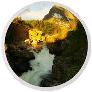Sunrise On A Waterfall At Glacier  Round Beach Towel