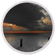 Sunrise On Key Islamorada Round Beach Towel
