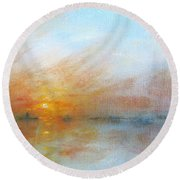 River Sunrise Round Beach Towel
