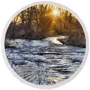 Sunrise On The St Vrain River Round Beach Towel