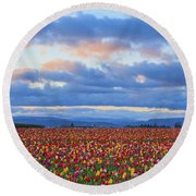 Sunrise Over A Tulip Field At Wooden Round Beach Towel