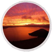 Sunrise Over Crater Lake Round Beach Towel