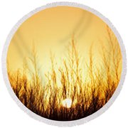 Sunrise Over Nachusa Grasslands Round Beach Towel