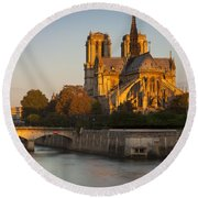 Sunrise Over Notre Dame Round Beach Towel