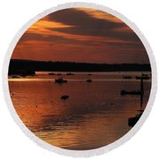 Sunrise Over Southwest Harbor Round Beach Towel