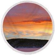 Sunrise Over Teslin Lake, Yukon Round Beach Towel