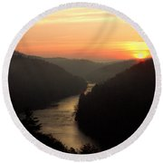 Sunrise Over The Cumberland River At Cumberland Falls State Park Round Beach Towel
