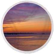 Sunrise Over The Mekong. Round Beach Towel