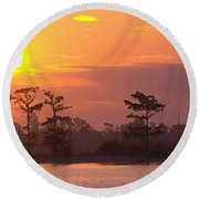 Sunrise Over The River Round Beach Towel