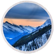 Sunrise Over The Rockies Round Beach Towel