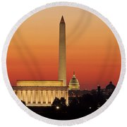 Sunrise Over Washington Dc Round Beach Towel