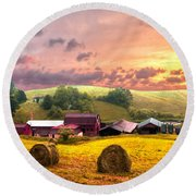 Sunrise Pastures Round Beach Towel