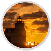 Sunrise Pier Fishermen Round Beach Towel