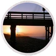 Sunrise Pier Ventura Round Beach Towel by Henrik Lehnerer