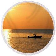 Sunrise Sport Fishing Round Beach Towel