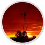 Sunrise Windmill 1 C Round Beach Towel