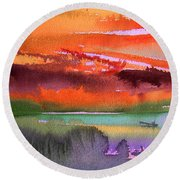 Sunset 04 Round Beach Towel