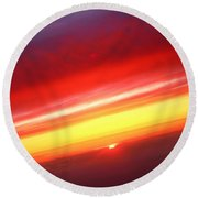 Sunset Above The Clouds Round Beach Towel