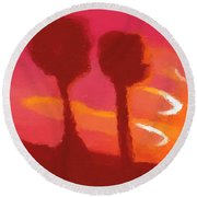 Sunset Abstract Trees Round Beach Towel