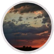 Sunset After The Thunderstorm Round Beach Towel