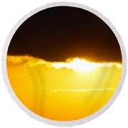 Sunset And Cloud At Sea Round Beach Towel