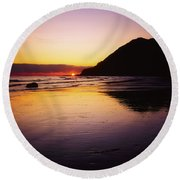 Sunset And Sea Round Beach Towel