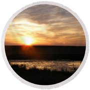Sunset And Water Round Beach Towel