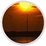 Sunset At Cape Cod Round Beach Towel