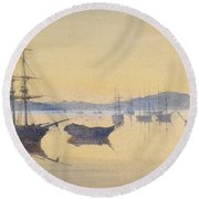 Sunset At Constantinople Round Beach Towel by M Baillie Hamilton