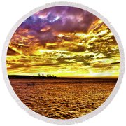 Sunset At Danshui Hdr Round Beach Towel