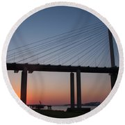 Sunset At Dartford Bridge Round Beach Towel
