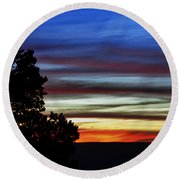 Sunset At Desert View Along The Grand Canyon Round Beach Towel