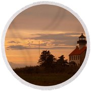 Sunset At East Point Light  Round Beach Towel