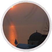 Sunset At Iao Greece Round Beach Towel