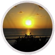 Sunset At Kuta Beach Round Beach Towel