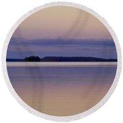 Sunset At Lake Muojaervi Round Beach Towel